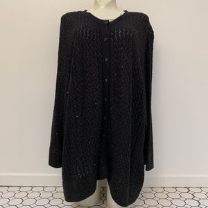 COLDWATER CREEK Knit Cardigan Black Sequins 3X